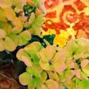 Hydrangeas And Swirls Art Print