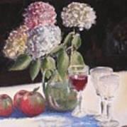 Hydrangeas Apples And Wine Art Print