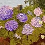 Hydrangeas On The Creek Bank Art Print