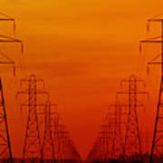 Hydro Power Lines And Towers Art Print