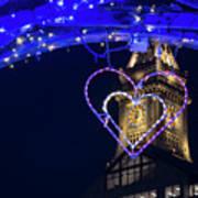 I Heart Boston Ma Christopher Columbus Park Trellis Lit Up For Valentine's Day Art Print