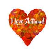 I Love Autumn Red Aspen Leaf Heart 1 Art Print