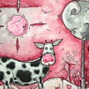 I Love Moo Original Madart Painting Art Print