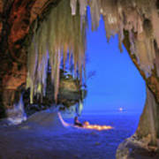 Ice Cave Setting Full Moon Serenity Art Print