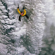 Ice Climbing In The South Fork Valley Print by Bobby Model
