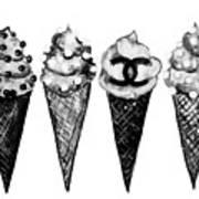 Ice Cream Black ,chanel Art Print