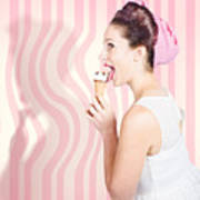 Ice Cream Pin-up Poster Girl Licking Waffle Cone Art Print