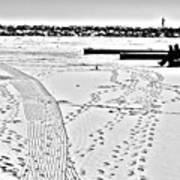 Ice Fishing On Lake Michigan Art Print