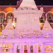 The Annual Ice Sculpting Festival In The Colorado Rockies, The Castle With A Parapet Art Print