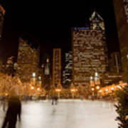 Ice Skaters And Chicago Skyline Art Print
