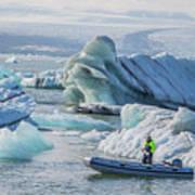 Icebergs On Jokulsarlon Lagoon In Iceland Art Print