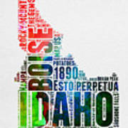 Idaho Watercolor Word Cloud  Art Print