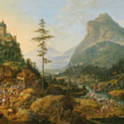 Idealized River Landscape With A Hunting Party Art Print