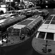 Idle Tour Boats -- Amsterdam In Winter Bw Art Print