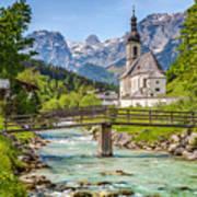 Idyllic Church In The Alps Art Print