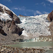 Illampu Glacier Lake Or Laguna Glacial Art Print