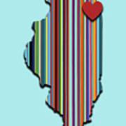 Illinois With Love Geometric Map Art Print