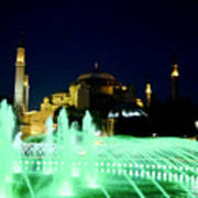 Illuminated Fountain Of Istanbul Art Print