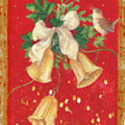 Illustrated Holly, Bells With Birdie Art Print