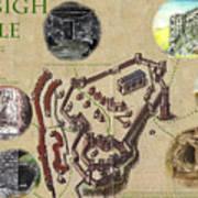 Illustrated Map Of Denbigh Castle 1611 Ad Art Print