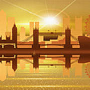 Illustration Of City Skyline - London  Sunset Panorama Art Print