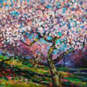 Impressionistic Spring Blossoms Trees Landscape Painting Svetlana Novikova Art Print
