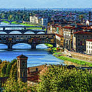 Impressions Of Florence - Long Blue Shadows On The Arno River Art Print