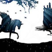 In A Dream, Unicorn, Pegasus And Castle Modern Minimalist Style Art Print