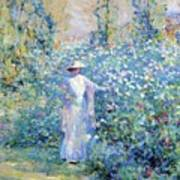 In The Flower Garden 1900 Art Print
