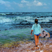 In The Hope Of A Big Wave Art Print