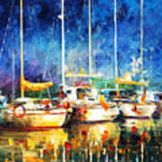 In The Port - Palette Knife Oil Painting On Canvas By Leonid Afremov Art Print