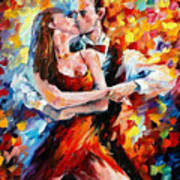 In The Rhythm Of Tango 2 - Palette Knife Oil Painting On Canvas By Leonid Afremov Art Print