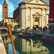 In The Waters Of The Many Venetian Canals Reflected The Majestic Cathedrals, Towers And Bridges Art Print