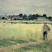In The Wheatfield At Gennevilliers Art Print by Berthe Morisot