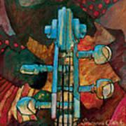 In Tune - String Instrument Scroll In Blue Art Print