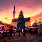 Incredible Christmas Market In Tallinn, Estonia Art Print