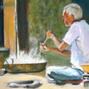 India - Street Side Cooking Art Print
