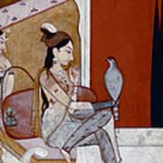India: Lady & Hawk, C1570 Art Print
