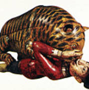 India: Tiger Attack Art Print
