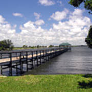 Indialantic Pier On The Indian River Lagoon In Central Florida Art Print