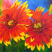 Indian Blanket Flowers Print by Mary Jo Zorad