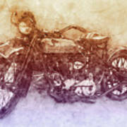 Indian Chief 2 - 1922 - Vintage Motorcycle Poster - Automotive Art Art Print
