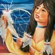 Indian Maiden With Dream Catcher Art Print