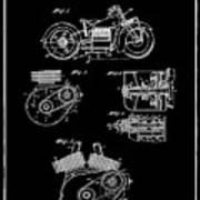 Indian Motorcycle Patent 1943 Black Art Print