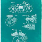 Indian Motorcycle Patent 1943 Green Art Print
