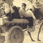 Indian People In Camel Cart- Sepia Art Print