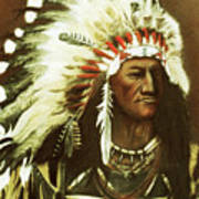 Indian With Headdress Art Print by Martin Howard