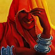 Indian Woman In Veil Art Print
