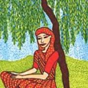 Indian Woman With Weeping Willow Art Print