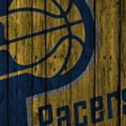 Indiana Pacers Wood Fence Art Print
